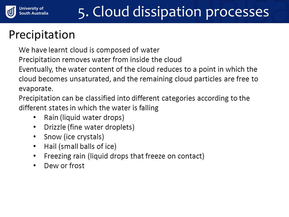 5. Cloud dissipation processes