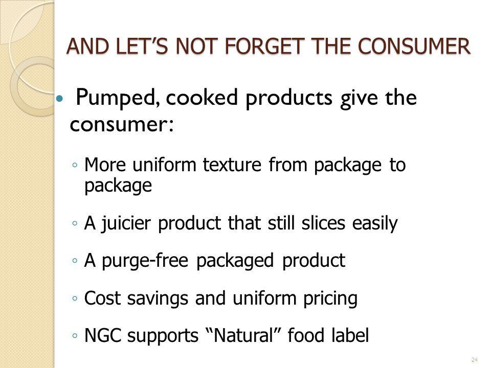 AND LET'S NOT FORGET THE CONSUMER