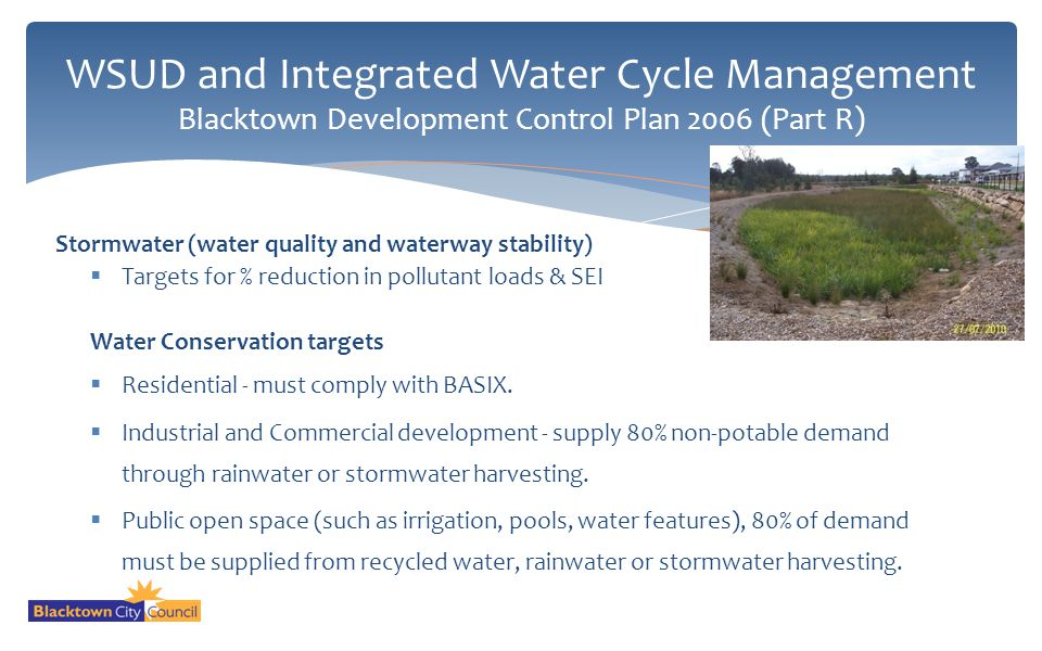WSUD and Integrated Water Cycle Management Blacktown Development Control Plan 2006 (Part R)