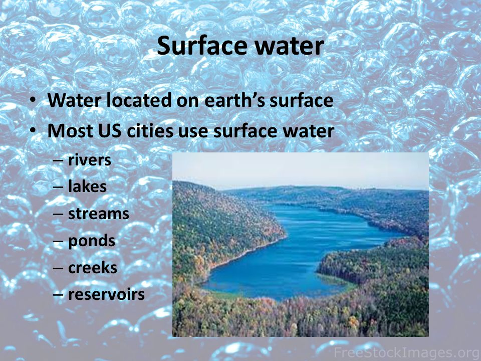 Surface water Water located on earth's surface