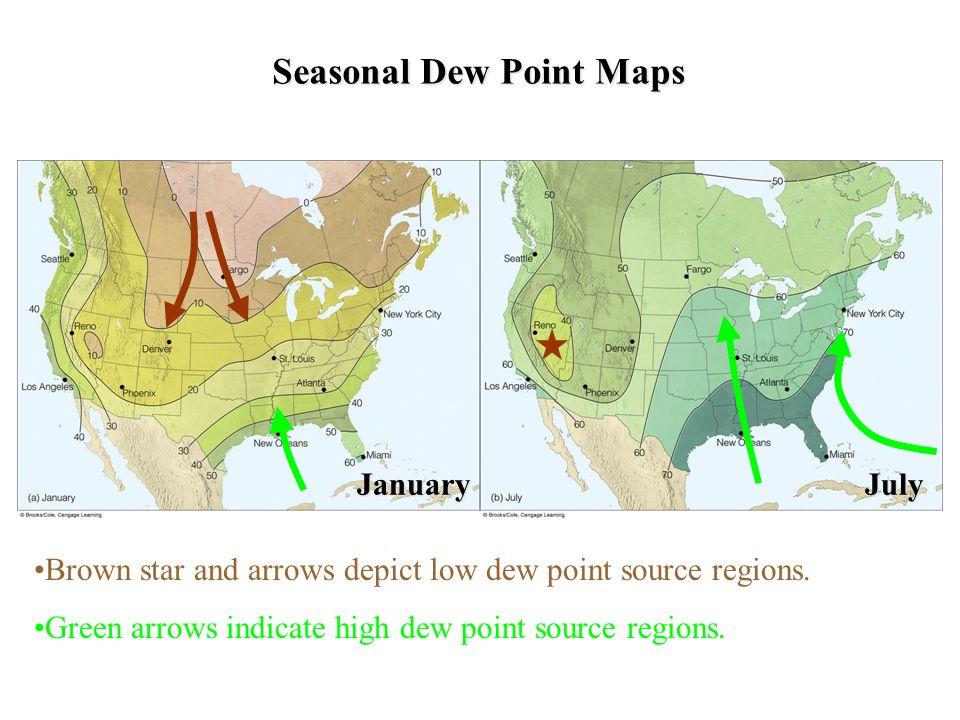 Seasonal Dew Point Maps