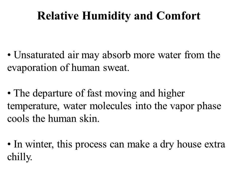 Relative Humidity and Comfort