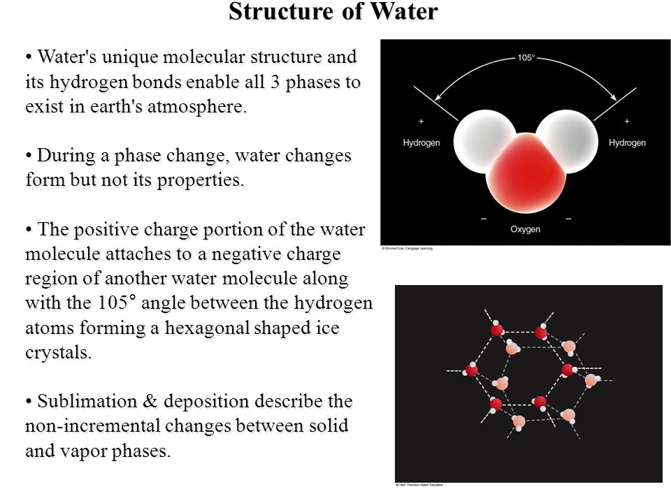 Structure of Water Water s unique molecular structure and its hydrogen bonds enable all 3 phases to exist in earth s atmosphere.