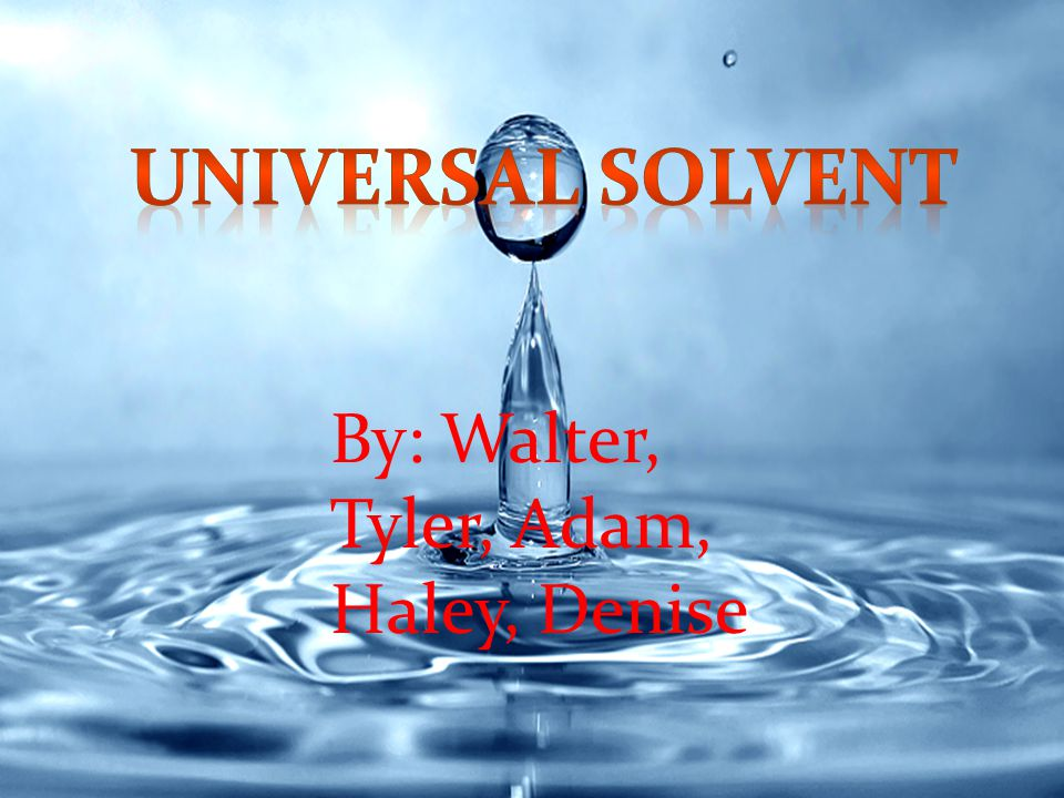 Universal Solvent By: Walter, Tyler, Adam, Haley, Denise