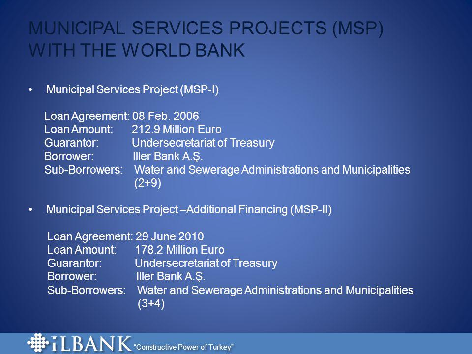 MUNICIPAL SERVICES PROJECTS (MSP) WITH THE WORLD BANK