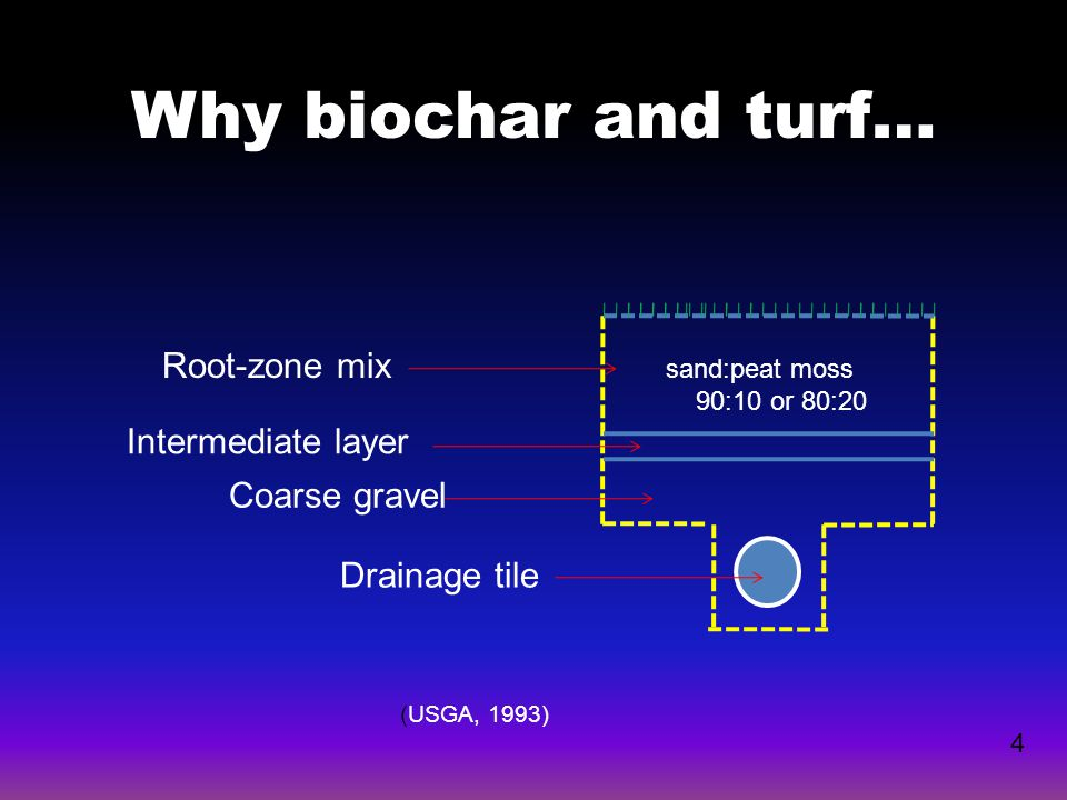 Why biochar and turf… Root-zone mix Intermediate layer Coarse gravel