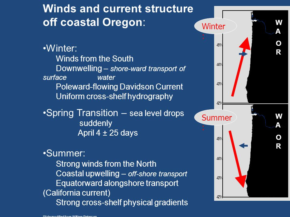 Winds and current structure off coastal Oregon:
