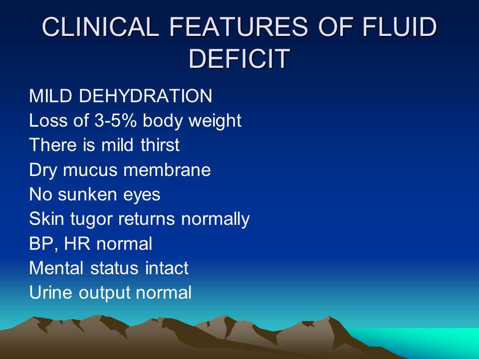 CLINICAL FEATURES OF FLUID DEFICIT