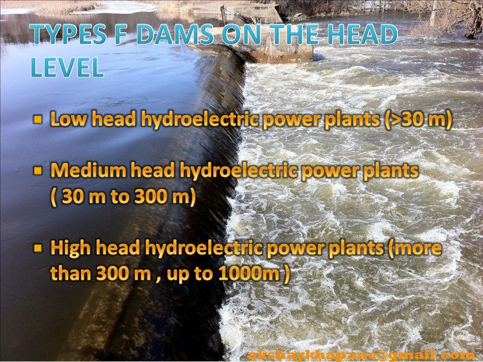 TYPES F DAMS ON THE HEAD LEVEL