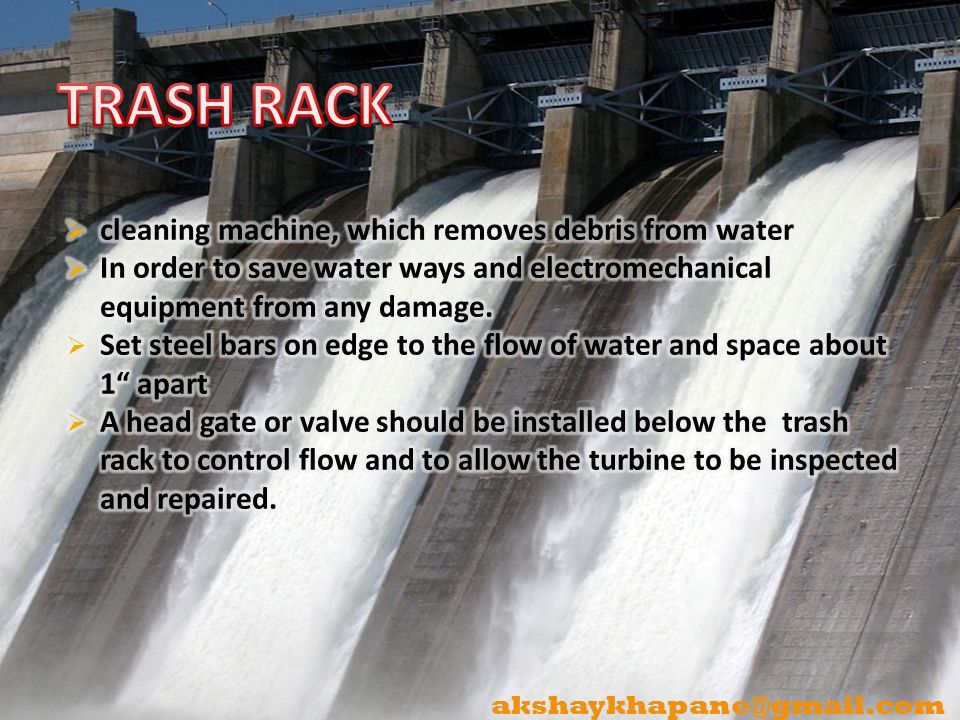 TRASH RACK cleaning machine, which removes debris from water