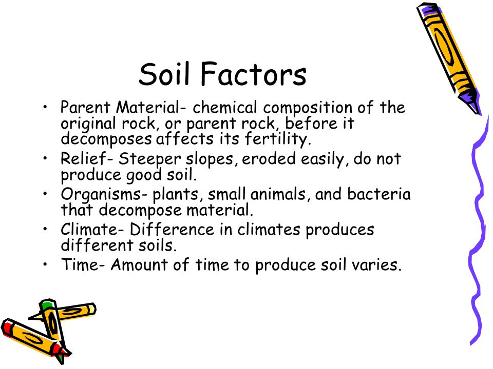 Soil Factors Parent Material- chemical composition of the original rock, or parent rock, before it decomposes affects its fertility.