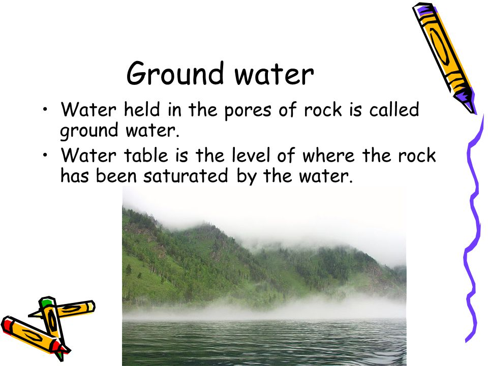 Ground water Water held in the pores of rock is called ground water.