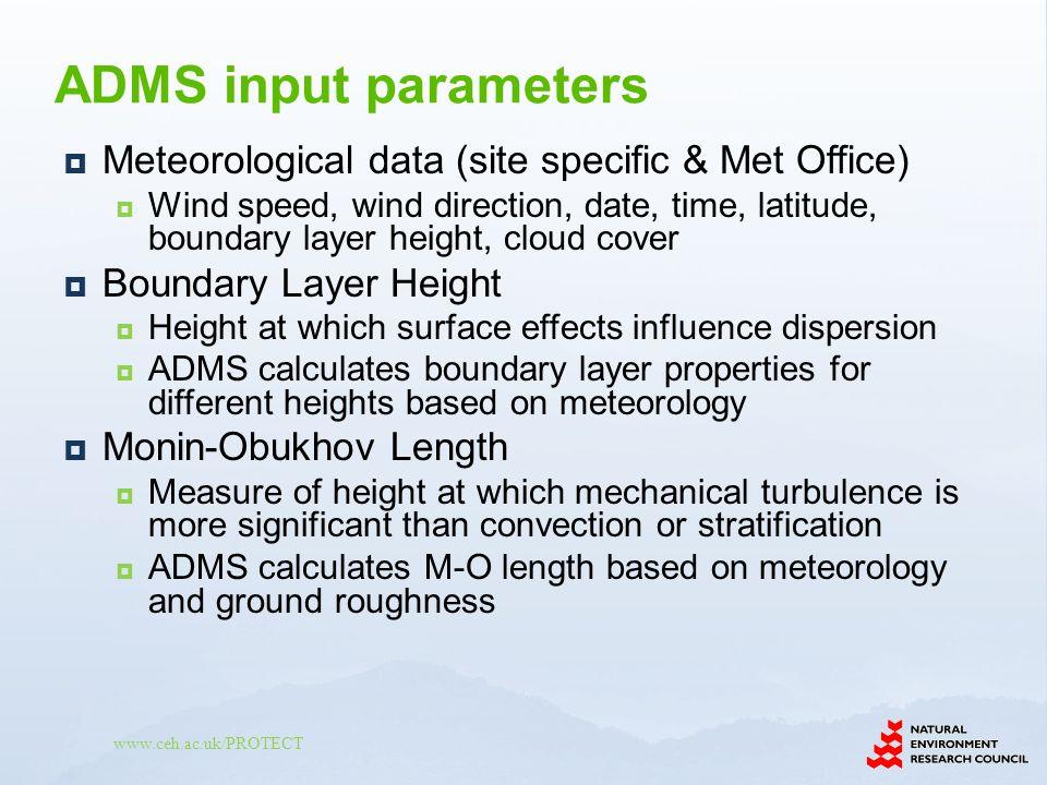 ADMS input parameters Meteorological data (site specific & Met Office)