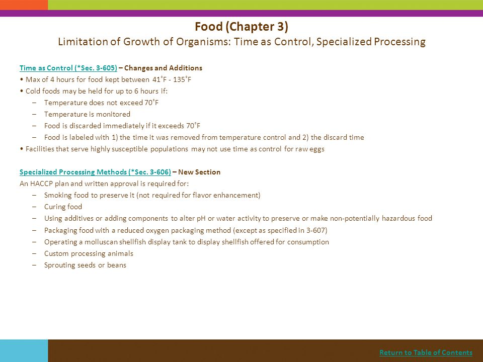 Food (Chapter 3) Limitation of Growth of Organisms: Time as Control, Specialized Processing
