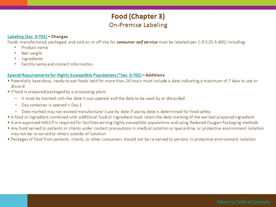 Food (Chapter 3) On-Premise Labeling