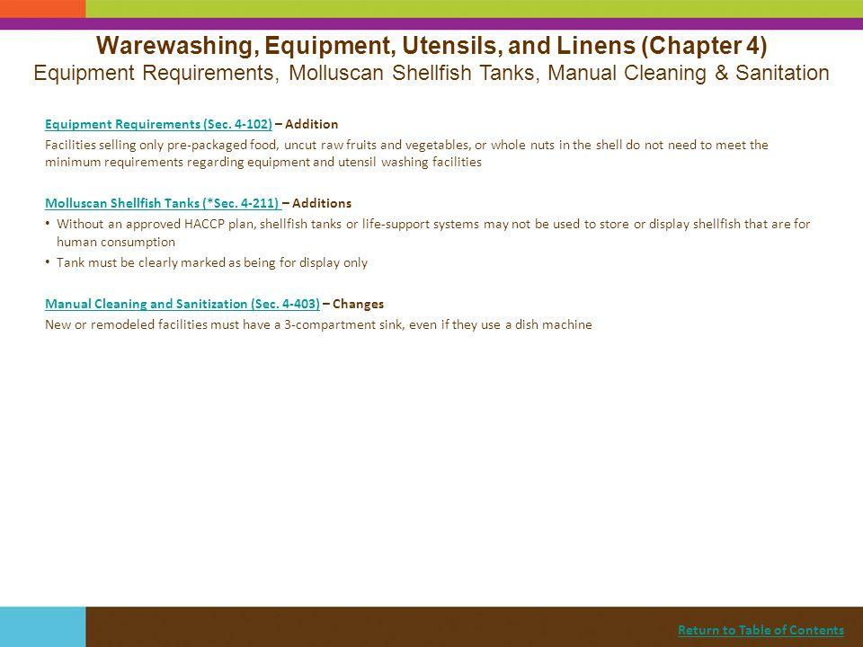 Warewashing, Equipment, Utensils, and Linens (Chapter 4)