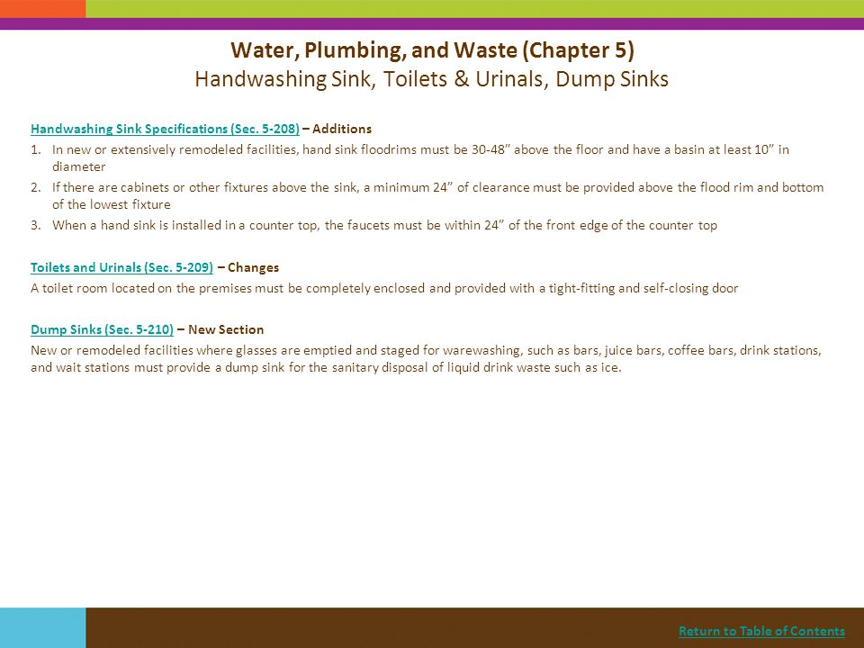 Water, Plumbing, and Waste (Chapter 5) Handwashing Sink, Toilets & Urinals, Dump Sinks