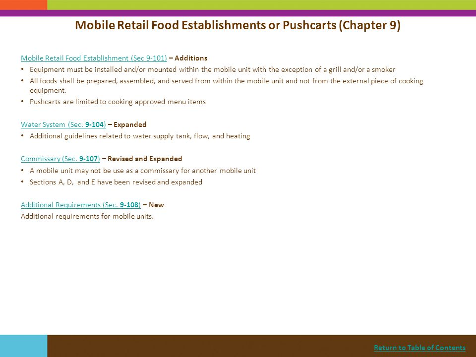 Mobile Retail Food Establishments or Pushcarts (Chapter 9)