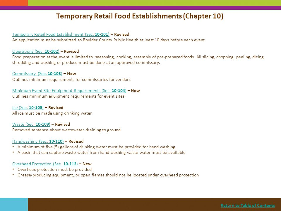 Temporary Retail Food Establishments (Chapter 10)
