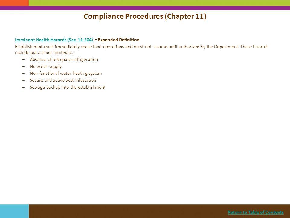 Compliance Procedures (Chapter 11)