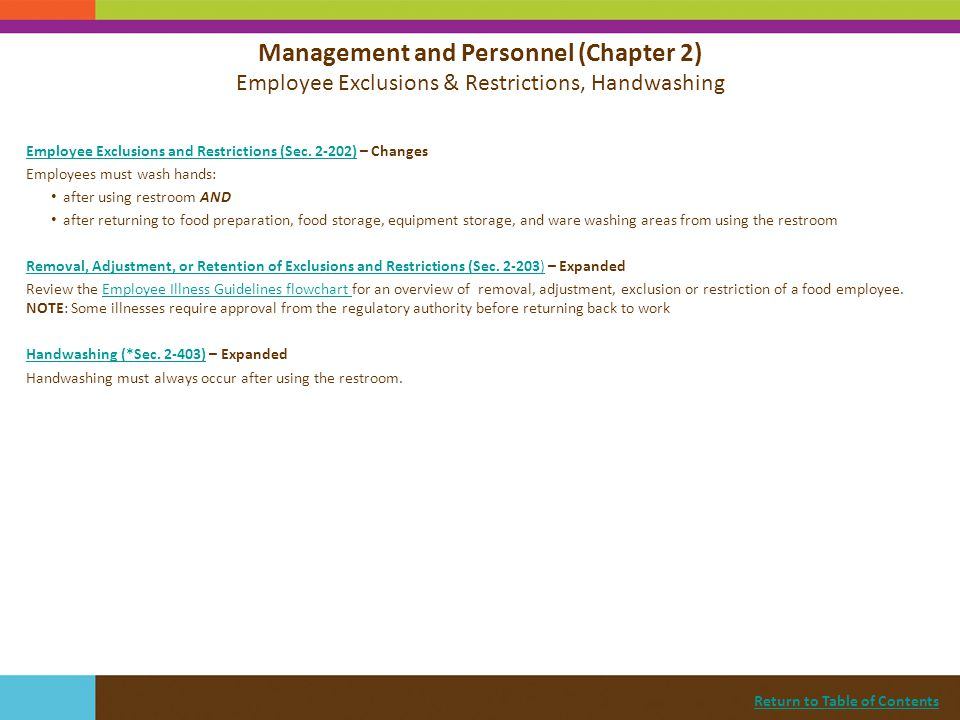 Management and Personnel (Chapter 2) Employee Exclusions & Restrictions, Handwashing