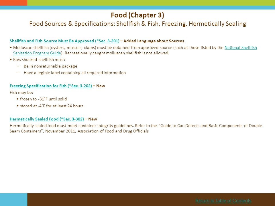 Food (Chapter 3) Food Sources & Specifications: Shellfish & Fish, Freezing, Hermetically Sealing