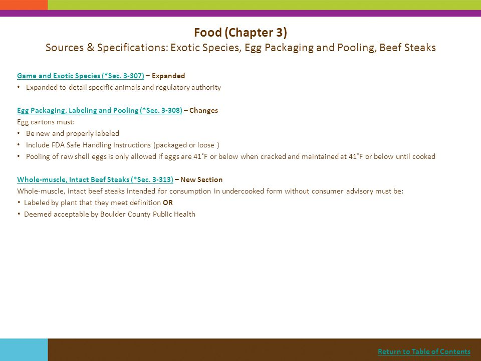 Food (Chapter 3) Sources & Specifications: Exotic Species, Egg Packaging and Pooling, Beef Steaks