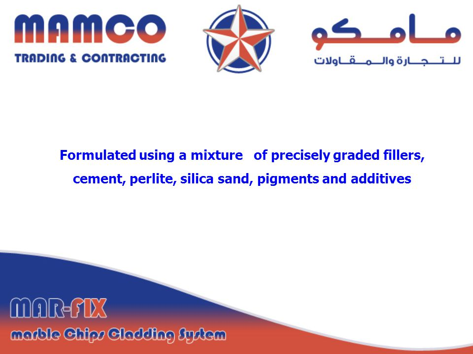 Formulated using a mixture of precisely graded fillers, cement, perlite, silica sand, pigments and additives