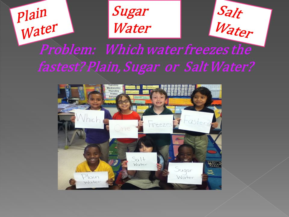 Problem: Which water freezes the fastest Plain, Sugar or Salt Water