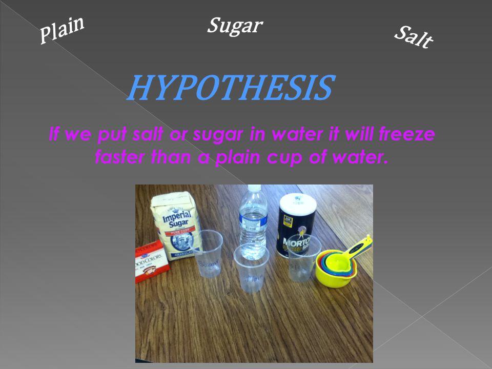 HYPOTHESIS Plain Sugar Salt