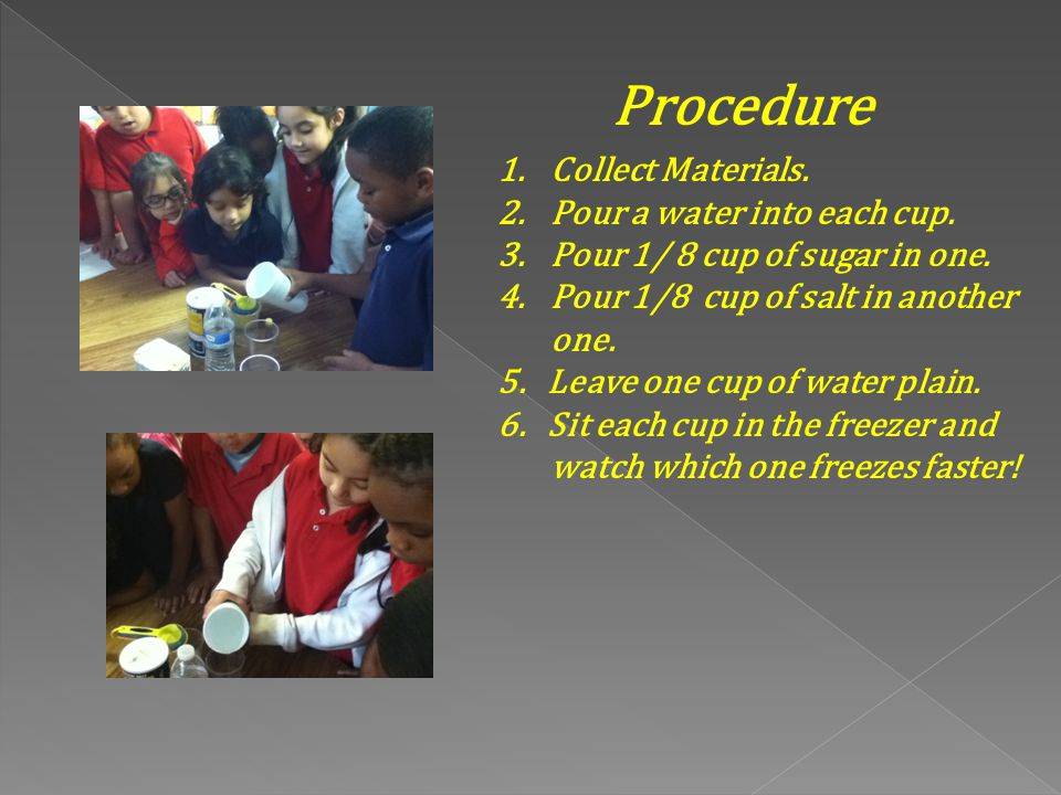 Procedure Collect Materials. Pour a water into each cup.