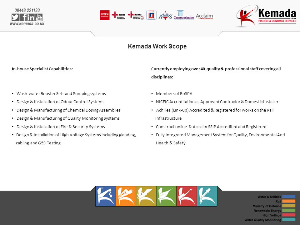 Kemada Work Scope In-house Specialist Capabilities: