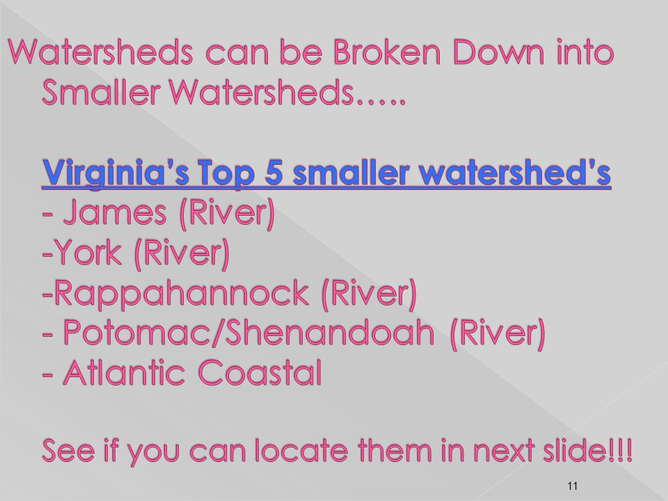 Watersheds can be Broken Down into Smaller Watersheds…