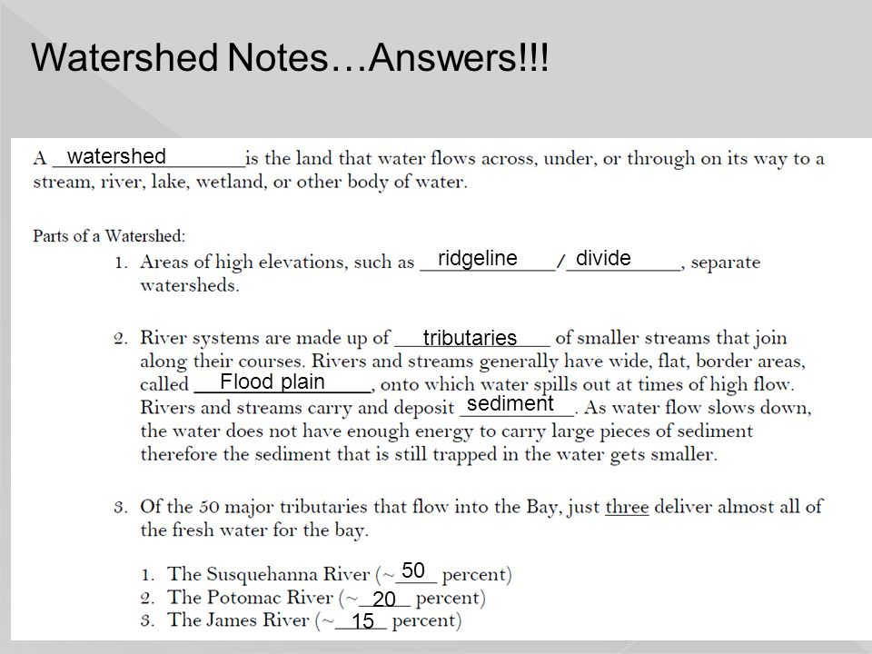 Watershed Notes…Answers!!!