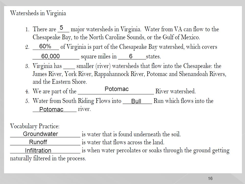 5 60% 60,000 6 Potomac Bull Potomac Groundwater Runoff Infiltration