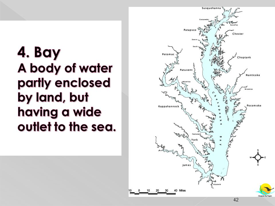 4. Bay A body of water partly enclosed by land, but having a wide outlet to the sea.