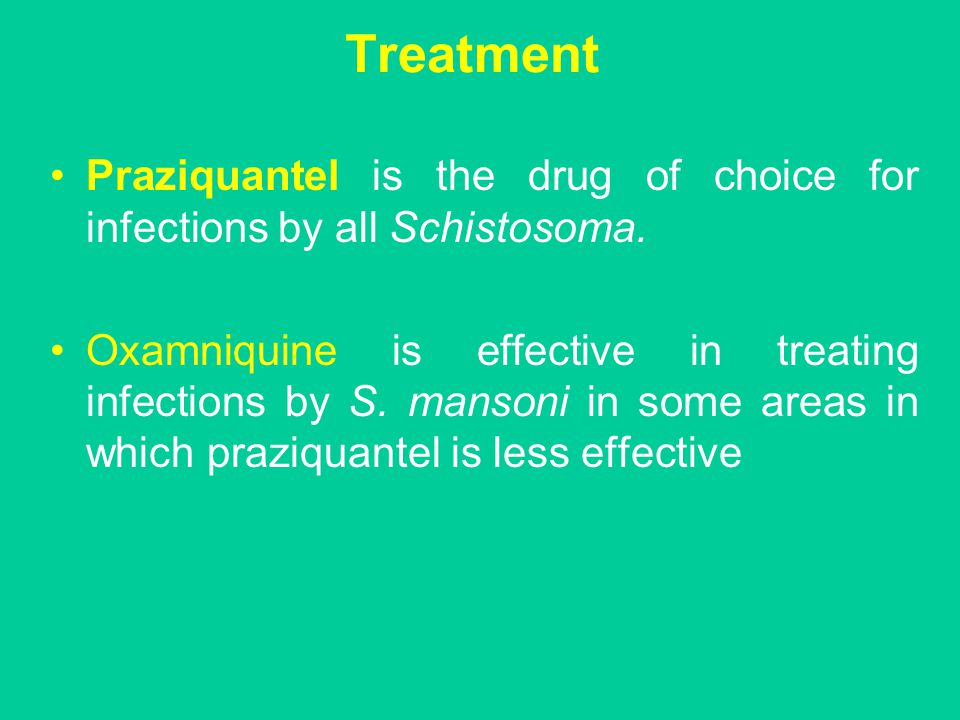 Treatment Praziquantel is the drug of choice for infections by all Schistosoma.