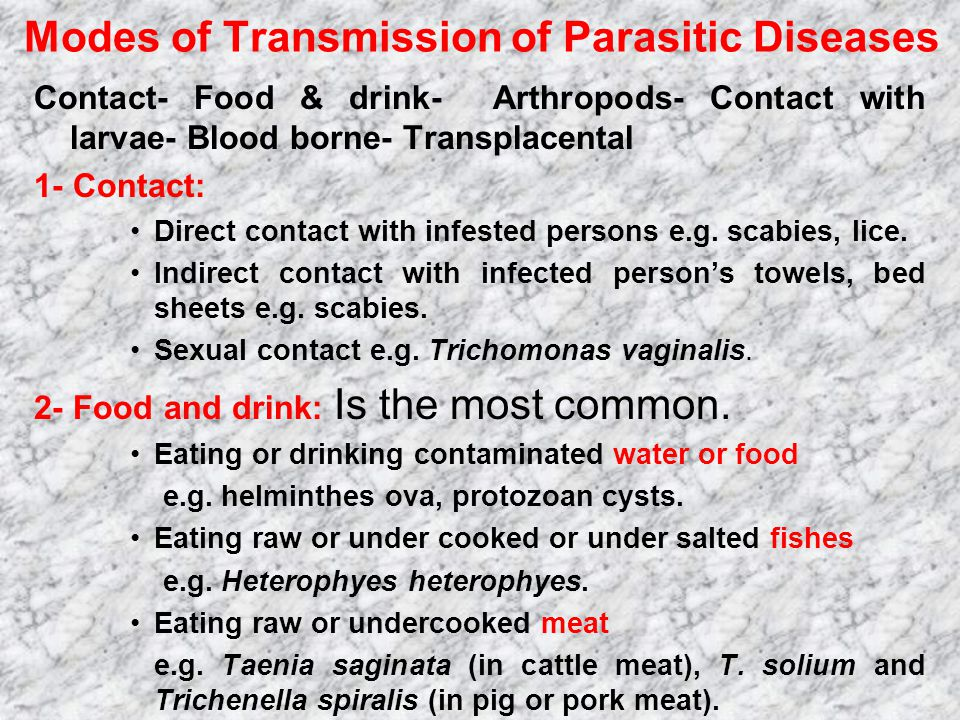 Modes of Transmission of Parasitic Diseases
