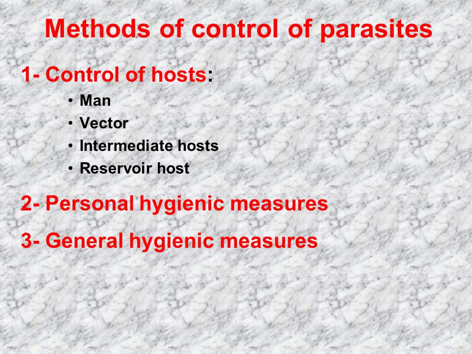 Methods of control of parasites