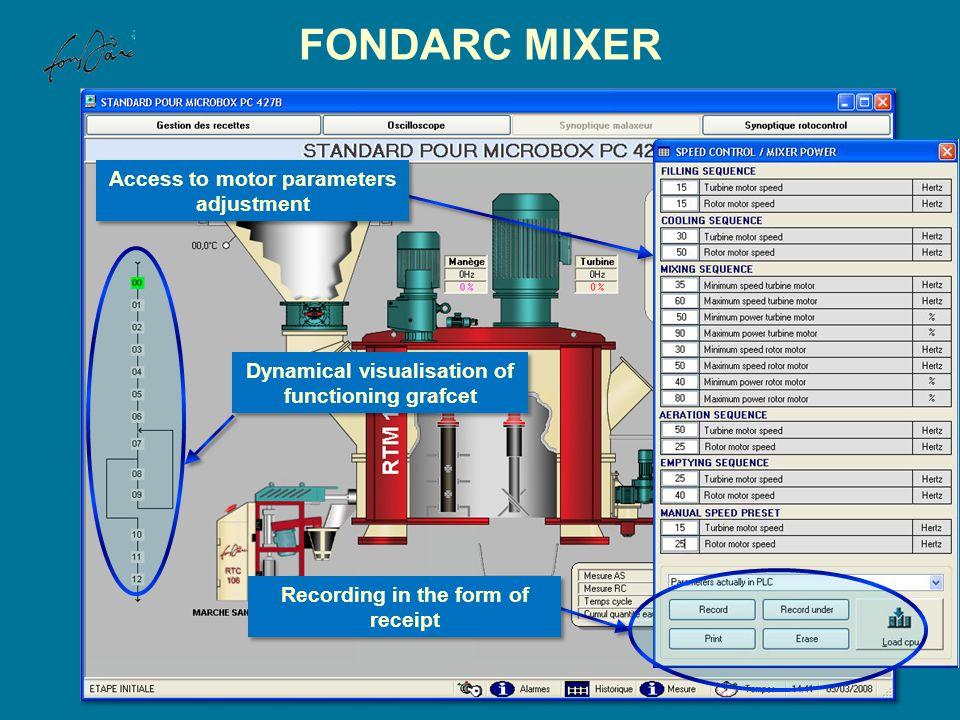 FONDARC MIXER Access to motor parameters adjustment