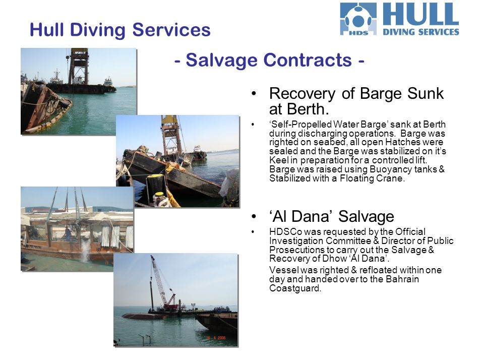 Hull Diving Services - Salvage Contracts -