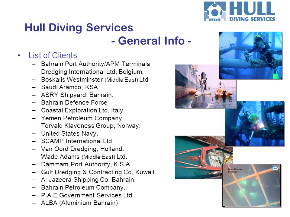 Hull Diving Services - General Info -