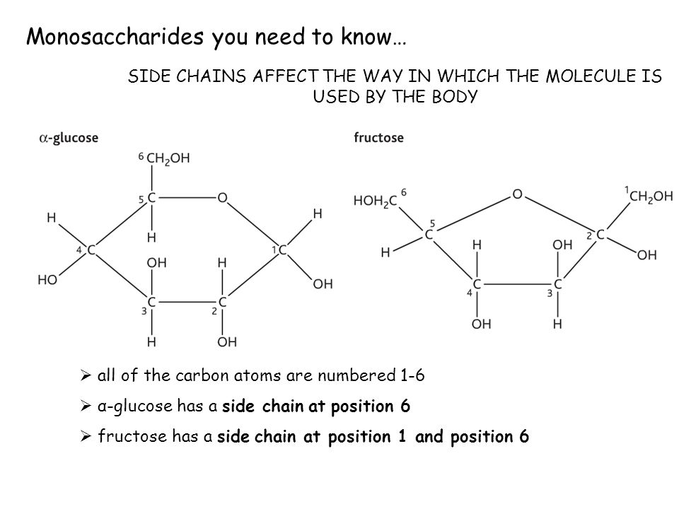 SIDE CHAINS AFFECT THE WAY IN WHICH THE MOLECULE IS USED BY THE BODY