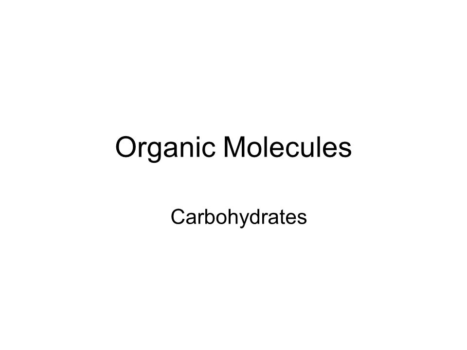 Organic Molecules Carbohydrates