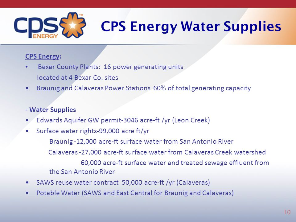 CPS Energy Water Supplies
