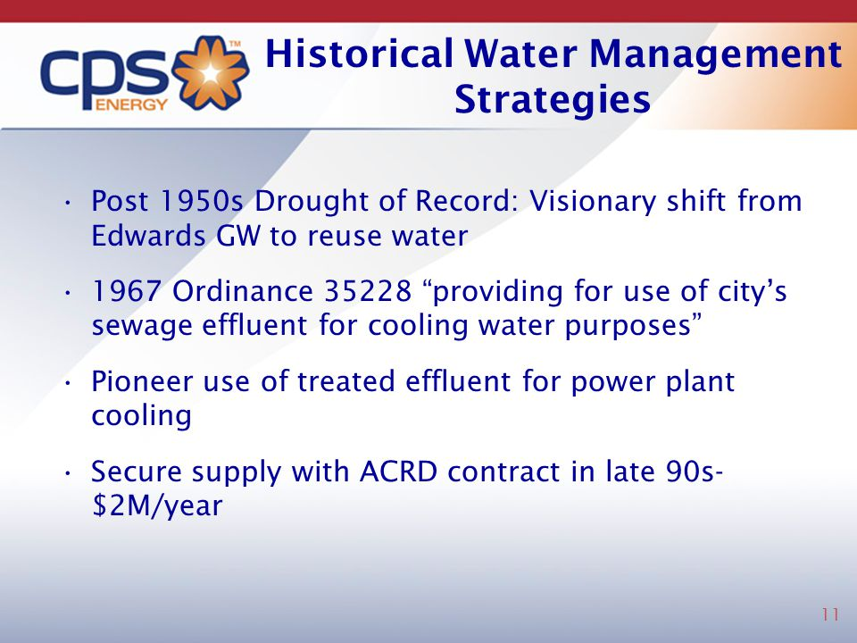 Historical Water Management Strategies