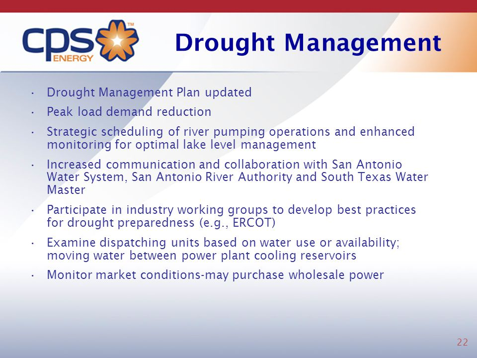 Drought Management Drought Management Plan updated