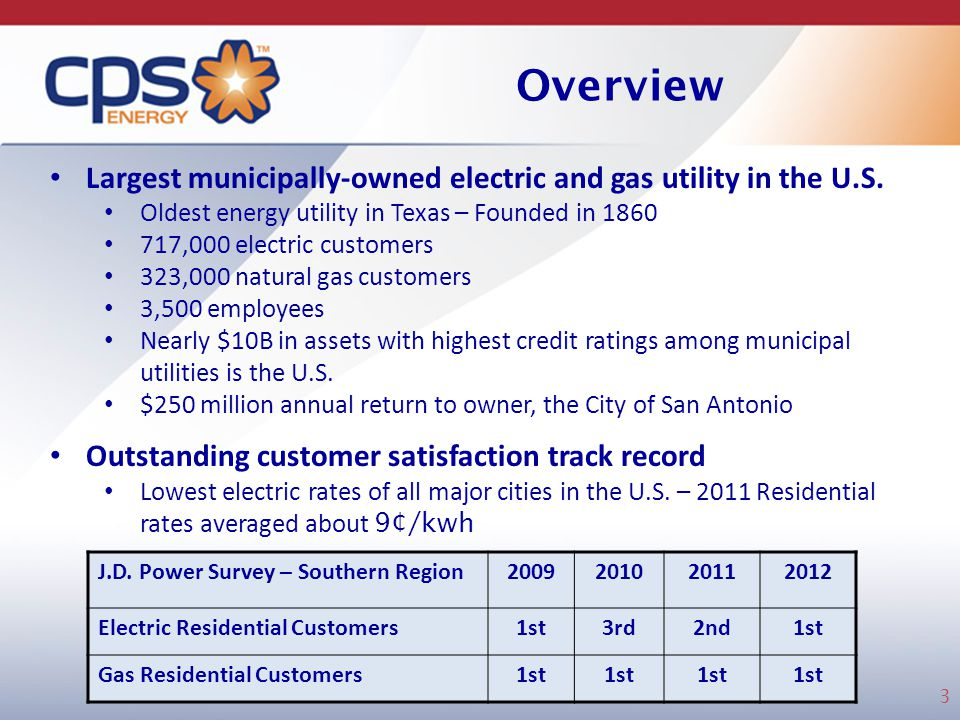 Overview Largest municipally-owned electric and gas utility in the U.S. Oldest energy utility in Texas – Founded in 1860.