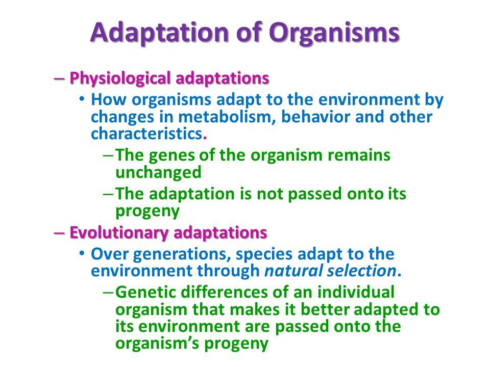 Adaptation of Organisms