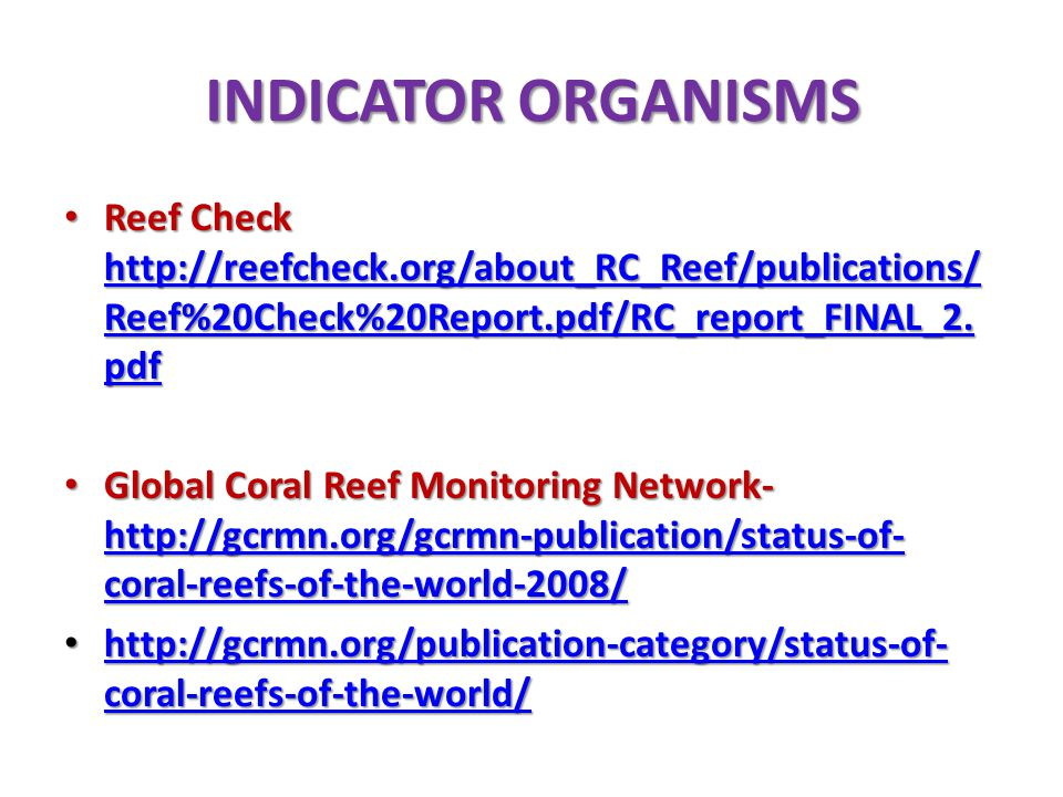 INDICATOR ORGANISMS Reef Check http://reefcheck.org/about_RC_Reef/publications/Reef%20Check%20Report.pdf/RC_report_FINAL_2.pdf.